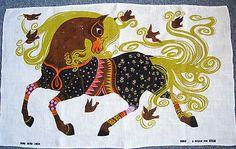 Vintage Oxfam Belinda Lyon Horse Birds Retro Dish Tea Towel 1970s
