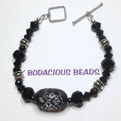Handmade 8 BLACK Lace BRACELET SILVER Accents  by MYBODACIOUSBEADS