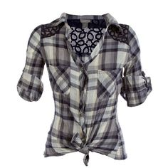 Plaid Crinkle Tie Shirt ($30) ❤ liked on Polyvore
