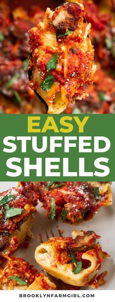Easy Stuffed Shells recipe made with a ricotta cheese filling, Italian spices and pasta sauce. This classic dinner is one of my family's favorite meatless meals. They're so cheesy, saucy and full of flavor! Cheesy Recipes, Pasta Recipes, Dinner Recipes, Sweets Recipes, Rice Recipes, Casserole Recipes, Meat Recipes, Delicious Recipes, Dinner Ideas
