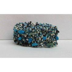 Bracelet élastique tissé de pierres turquoises, blanches, noires...