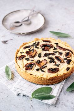 Vegan Creamy Mushroom Sage Tart In Almond Crust - This Vibrant World