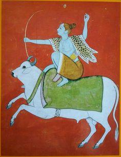 """""""Shiva The Archer. Indian Illustration, Hindu Deities, Indian Paintings, Old Art, Indian Art, Art Gallery, Miniatures, Lord Shiva, Miniature Paintings"""
