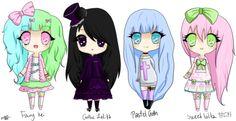 Cute chibis! Fairy Kei, Gothic Lolita, Pastel Goth, & Sweet Lolita.