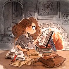 _mhiraishi illustration of Hermione hard at work on her studies