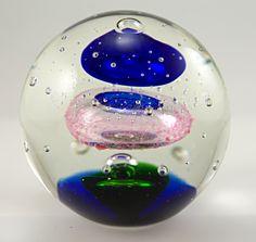 Decorative Art Glass Paperweights | Retro Art Glass: Space orb atomic art glass paperweight