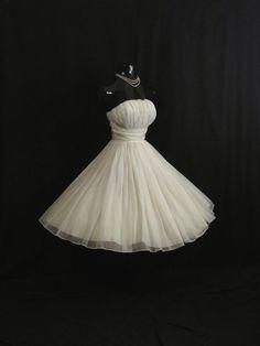 Vintage 1950's 50s White Ruched Chiffon Organza by VintageVortex, $399.99