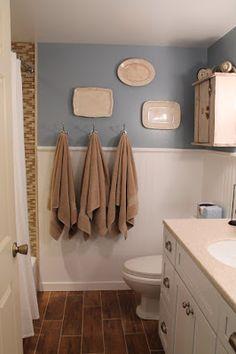 Bathroom update with wood look tiles!
