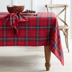 Williams-Sonoma Classic Tartan Plaid Tablecloth: http://www.stylemepretty.com/living/2015/11/21/thanksgiving-dinner-table-linens-and-decor/