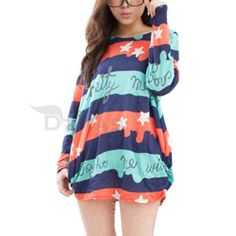 Lady Tops Long Sleeve Round Neck Star Characters Loose Casual Fashion US M L   eBay