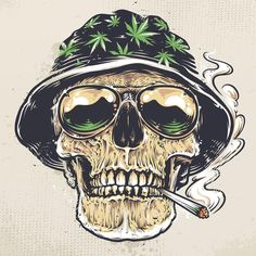 Illustration of Rastaman Skull vector art. Skull in hat with cannabis leafs and in suglasses holds smoking joint in his mouth. vector art, clipart and stock vectors. Arte Dope, Dope Art, Dope Kunst, Rasta Art, Totenkopf Tattoos, Marijuana Art, Medical Marijuana, Cannabis Oil, Stoner Art