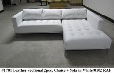 2PC Modern Contemporary white Leather Sectional Sofa #1701 (Short version) #Contemporary