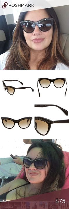 PRADA JEWEL-EMBELLISHED CAT-EYE SUNGLASSES Have a tiny nick on the right lens but u can't tell unless u know as u can see in my pics. Ask any questions. Prada Accessories Sunglasses