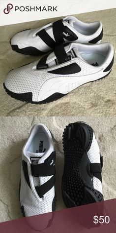 Puma MOSTRO PERF LEATHER SHOES Puma MOSTRO size 5 white perforated leather shoes . Brand new . Never worn. Please note: Shoes run larger so will fit size 6 wearer perfected with socks room to spare. Selling because I ended up loving my identical 4 year old pair more. Puma Shoes Sneakers