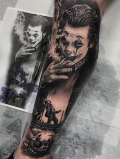 Would you get a Joker tattoo? You can find Arkham city and more on our website. Gangster Tattoos, Dope Tattoos, Tattoos Arm Mann, Forarm Tattoos, Forearm Sleeve Tattoos, Leg Tattoo Men, Best Sleeve Tattoos, Tattoo Sleeve Designs, Leg Tattoos