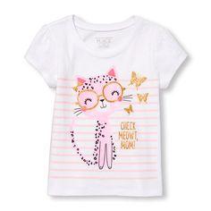 Toddler Girls Short Sleeve Glitter 'Check Meowt Mom' Cat Graphic Tee