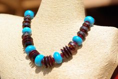 Necklace - rustic ethnic tribal artisan boho brown blue earthy recycled glass turquoise blue handmade lampwork glass beads horn copper