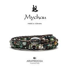 Bracciale Mychau Vietnam Son La originale realizzato con pietre naturali AGATA MUSCHIATA su base bracciale colore Testa di Moro.