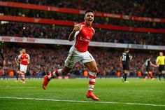 Arsenal's Alexis Sanchez celebrates breaking the deadlock against Burnley at the Emirates with a rare headed. Gunners went on to win with Sanchez scoring twice and Chambers scoring the goal Arsenal Soccer, Arsenal Players, Arsenal News, Arsenal Fc, Soccer Guys, Football Players, Football Soccer, Fantasy Football Uk, Alexis Sanchez Arsenal
