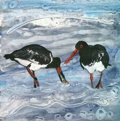 """Louise Worthy """"Feathered Friends"""" Mixed Media"""
