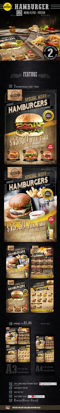 Hamburger Menu Flyer Template PSD. Download here: http://graphicriver.net/item/hamburger-menu-flyer/15474950?ref=ksioks