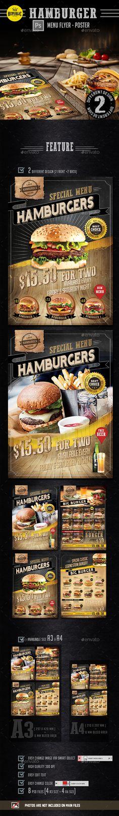 Hamburger Menu Flyer Template PSD. Download here: http://graphicriver.net/item/hamburger-menu-flyer/15474950?ref=ksioks
