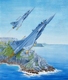 SAAF Gripen C by Derrick Dickens, part of his South African Air Force collection. Fighter Aircraft, Fighter Jets, South African Air Force, Aircraft Painting, Aviation Art, Military Art, North Africa, Military Aircraft, History