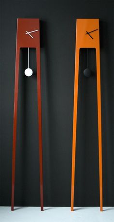 Contemporary streamlined version of a grandfather clock called Tiuku Clock, designed by Finnish designer Ari Kanerva.