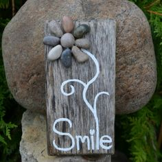Smile & Smell the Flowers. Unique driftwood art by Jools @ etsy.com/shop/BeachMemoriesByJools
