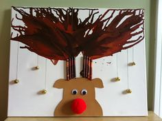 Rudolph Melted Crayon Antlers Art!! Maybe iron and wax paper since we don't have heat gun and not safe for kids.