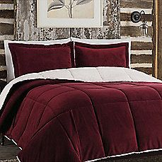 image of So Soft™ Plush Reversible Comforter Set in Red