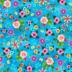 Cotton Quilt Fabric Blessed Flowers Turquoise Blue Multi Floral