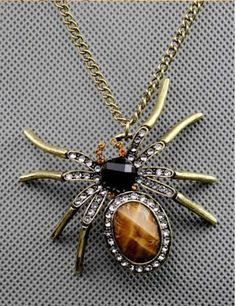 Filled with Personality, This Crystal Tarantula Spider has a Long Chain with beautiful Gems