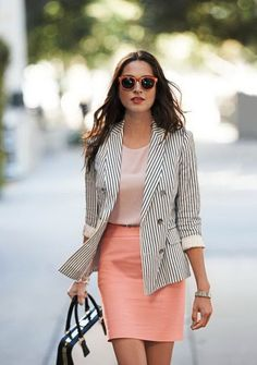 This is a really nice summer look. The pale pink shirt and apricot skirt is light and the pin-striped jacket makes it very business-like. - See more at: http://stylesweekly.com/23-outfits-great-work/#sthash.fSkku0VX.dpuf