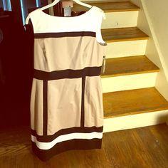 Tahari black block dress Tahari black white khaki block sleeveless. Zippers on the back. New with tags. Tahari Dresses