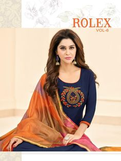 df339e6597 Shagun Lifestyle Rolex Vol 6 Long Slub South Cotton with Embroidery Work  Dress Material Collection