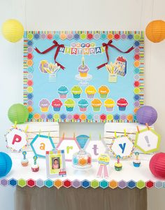 Check out this awesome display of the HexaFun Happy Birthday Mini Bulletin Board Set.  Whether your classroom has an entire wall to dedicate to celebrating birthdays, or if you need a smaller space, this set can work for you!  Add in some extra hexagon cut-outs for a party banner and you are set!