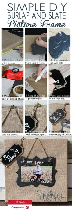 DIY Burlap and Slate Picture Frame on Reclaimed Wood - Unskinny Boppy Home Crafts, Fun Crafts, Diy And Crafts, Arts And Crafts, Craft Tutorials, Diy Projects, Burlap Projects, Craft Ideas, Photo Projects