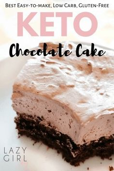 Keto Chocolate Cake with Whipped Cream Icing - Lazy Girl This Keto Chocolate Cake is an absolute lifesaver when you are on the keto diet. Not every dessert that is labeled keto actually taste good, but I'm sure if you will give this one a try, it will qu Ingredients For Chocolate Cake, Keto Chocolate Cake, Healthy Chocolate, Cake Ingredients, Vegetarian Chocolate, Chocolate Desserts, Chocolate Cream, Ketogenic Desserts, Köstliche Desserts