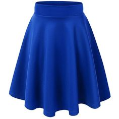 Women's Stretchy Flared Skater Skirt (Small, VS109-Royal Blue) at... ($14) ❤ liked on Polyvore featuring skirts, blue circle skirt, electric blue skirt, flared hem skirt, knee length flared skirts and blue skater skirt
