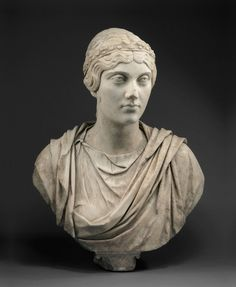 Portrait Bust of a Woman, A.D. 140/50. Roman. Marble; 64.8 x 47.6 x 27.3 cm (25 1/2 x 18 3/4 x 10 3/4 in.). The Art Institute of Chicago,