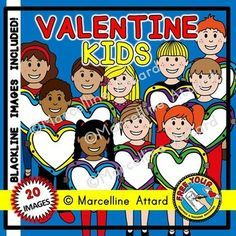 EARLY BIRD #SALE! #VALENTINE #KIDS #CLIP #ART - WITH #HEART #BOARDS: COLOR AND BLACK LINE #IMAGES! #CHILDREN #DISPLAY