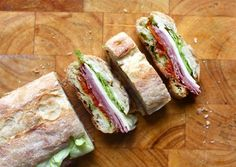 Pressed Sandwiches for a picnic. Can use variety of meats and cheese.