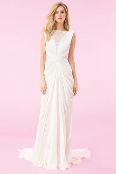 Tadashi Shoji spring 2014 Ivory, nude, chiffon draped gown with lace insets wedding dress