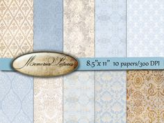 Digital decoupage Papers // light blue beige  //  Damask floral   // Commercial Use // 8.5 x 11 in sheets  10  papers (045us) MemoriesPictures 3.90 USD