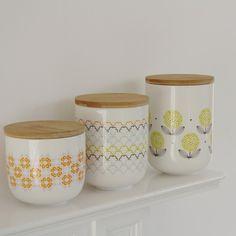 Tea and Kate :: Fleur porcelain storage pot Graphic Patterns, Wave, Interior Decorating, Porcelain, Rainbow, Tea, Storage, Simple, Tableware