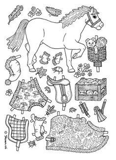 Karen`s Paper Dolls: Klavs Christmas Horse to Print and Colour. Klavs Julehest til at printe og farvelægge.