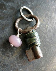 Rendezvous Key in Laurel Green with Lepedolite Bead Pendant