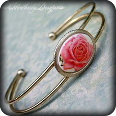 Rose Water: detailed coral vintage rose limoge and gold tone cuff bracelet one of a kind