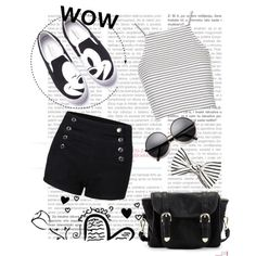 b&w everyday outfit by stylestar-190 on Polyvore featuring Topshop, Poverty Flats and Eugenia Kim